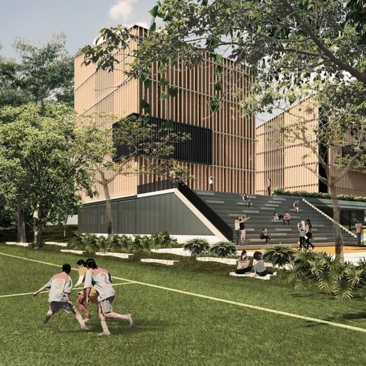 Edificio de Laboratorios de la Universidad Javeriana de Cali (PUJ) / Espacio Colectivo Arquitectos. Image Cortesía de Espacio Colectivo Arquitectos