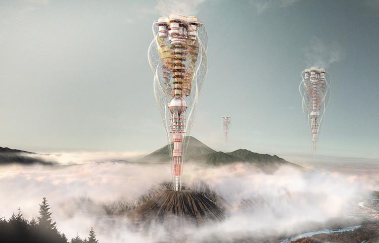 eVolo anuncia os vencedores de seu concurso de 2018 para arranha-céus, Volcanic Tower. Image Cortesia de eVolo