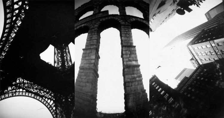 Fotolateras: cuando las ciudades se fotografían con latas, Torre Eiffel (París), el Acueducto de Segovia (España) y Nueva York (Estados Unidos). Image © Fotolateras