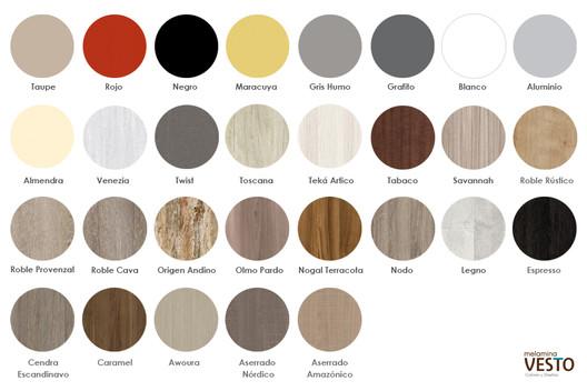 Variedad de diseños y colores - Melamina Vesto. Image Cortesía de Arauco