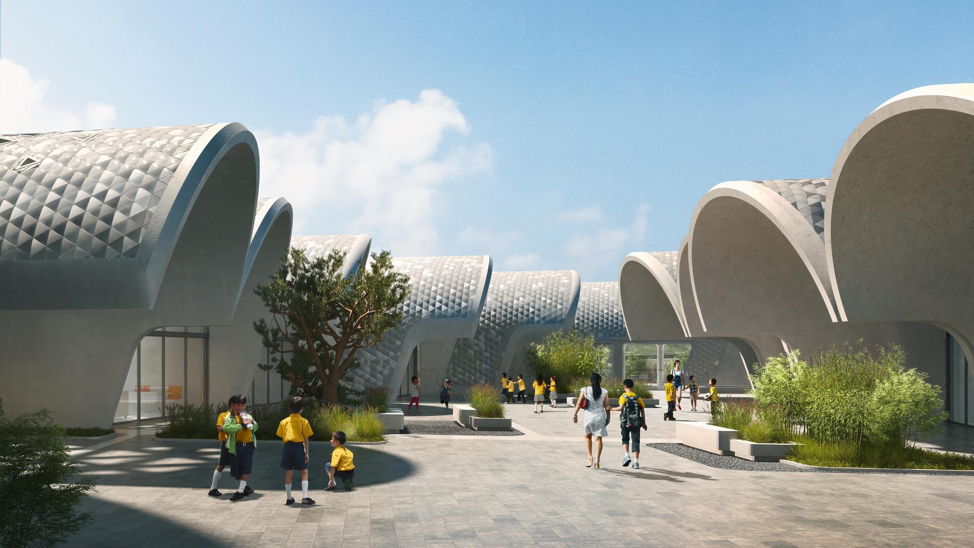 Zaha Hadid Architects Designs Parabolic-Vaulted School Campus in Rural China