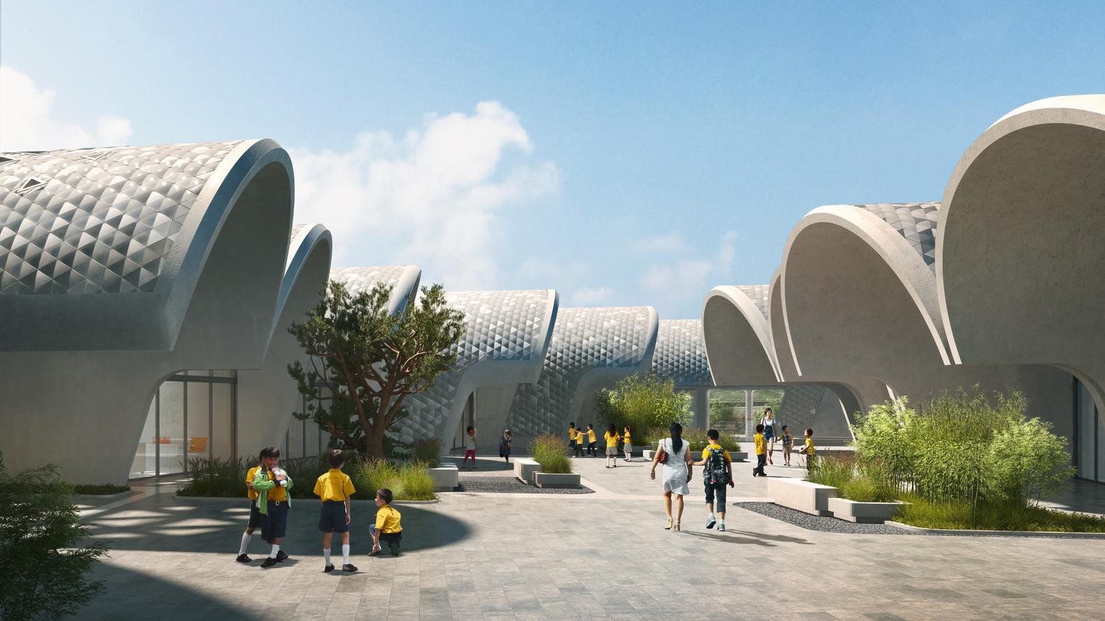 Zaha Hadid Architects Designs Parabolic Vaulted School Campus In Rural  China,© VA