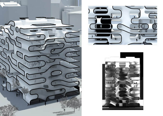 Team (Dense.com)munity uses complex, curved geometry to make housing feel less dense. Image Courtesy of Design Research Laboratory