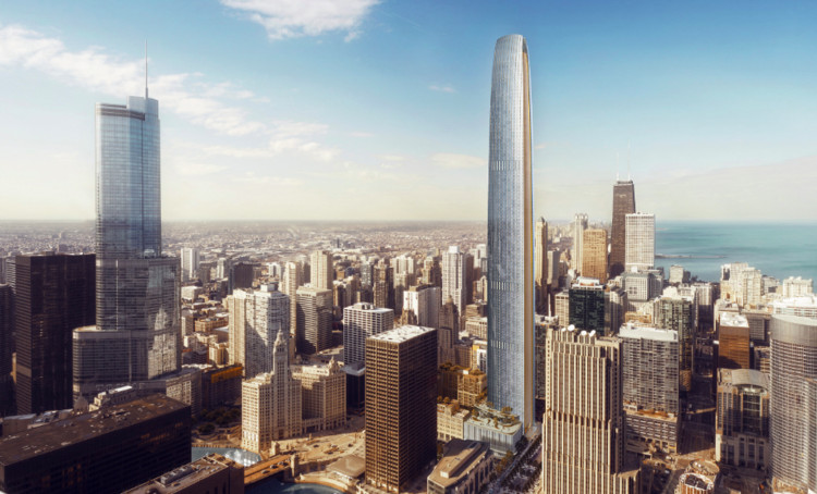 Segunda torre mais alta de Chicago será construída ao lado da icônica Chicago Tribune Tower, Cortesia de CIM / Golub