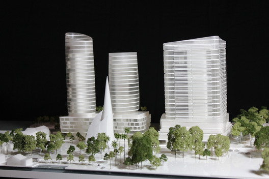 Elizabeth Quay Hotel designed by HASSELL / Model by Peter Wake. Image courtesy of Peter Wake