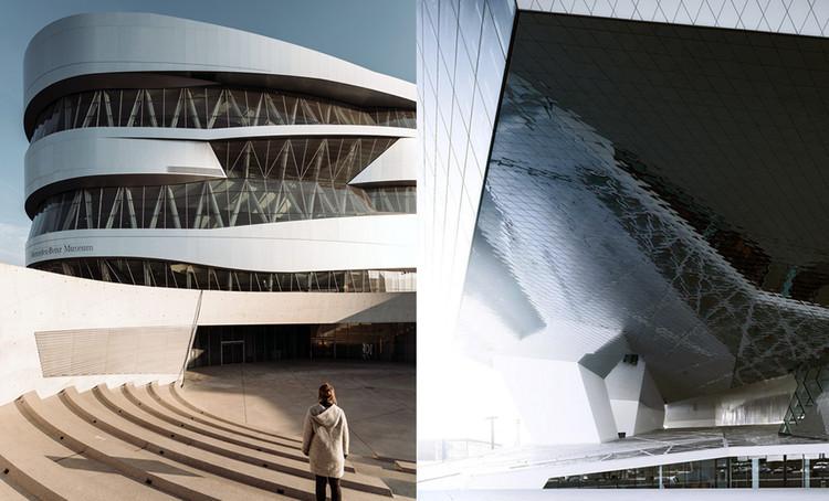 Una comparación inevitable: Museos Mercedes-Benz y Porsche, Izq. Museo Mercedes-Benz © Eva Bloem. Dcha. Museo Porsche © Michael Schnell  . Image