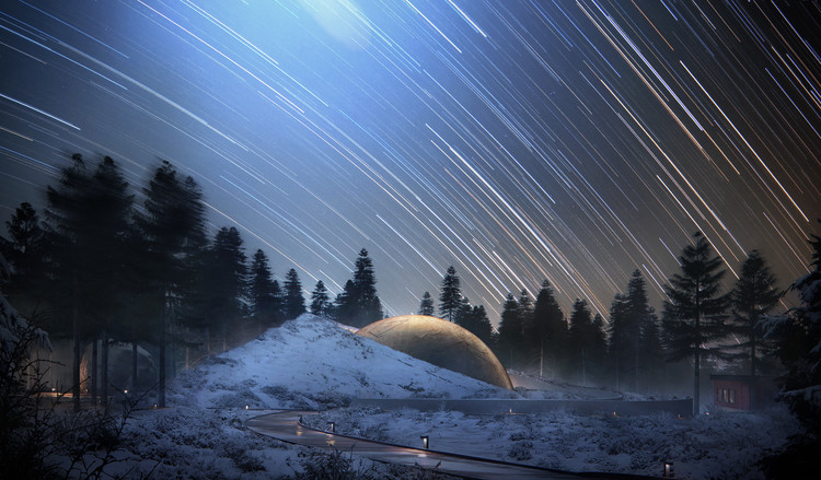 Snøhetta Designs Planetarium and Interstellar Cabins in Norwegian Forest, Courtesy of Snøhetta/Plompmozes