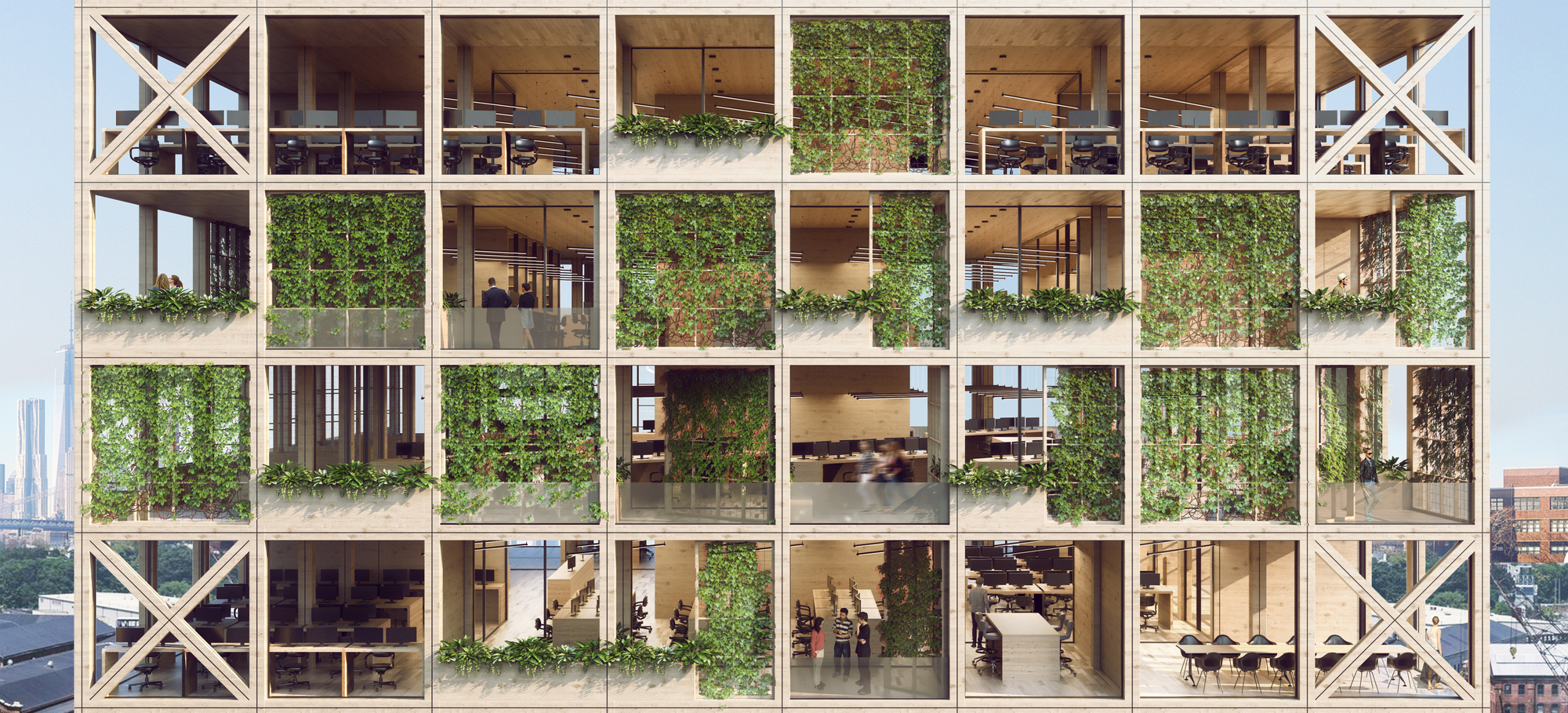 """""""Pixel Facade"""" System Combines a Love for Nature With Next-Generation Workspaces"""