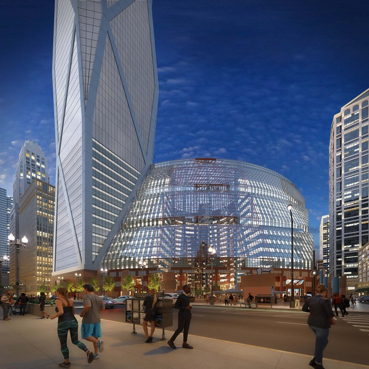 New Images Released of Proposed Skyscraper Addition to Chicago's Thompson Center, Courtesy of visualizedconcepts