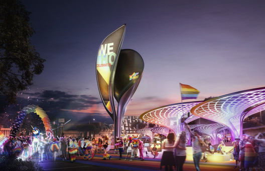 Proposed plan for the Sunset Spectacular Billboard by JCDecaux/Zaha Hadid Architects. Rendering by Kilograph.