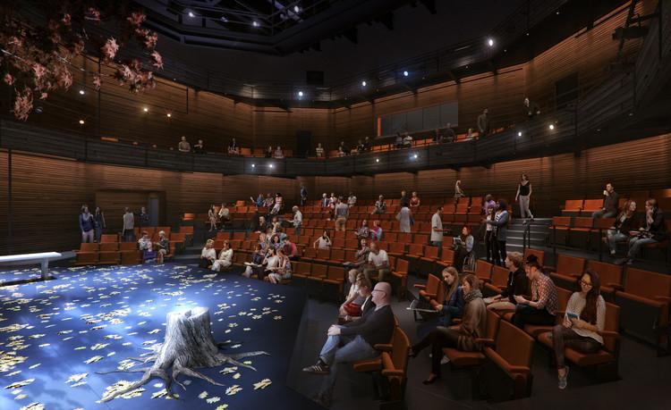 Como adicionar escalas humanas às suas renderizações como um profissional, O plano proposto para o palco principal do TheaterSquared. Image © Charcoalblue. Rendering by Kilograph.