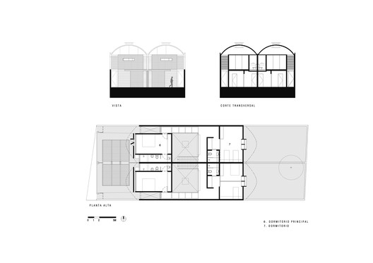 Facade Elevation, First floor Plan and Transversal Section