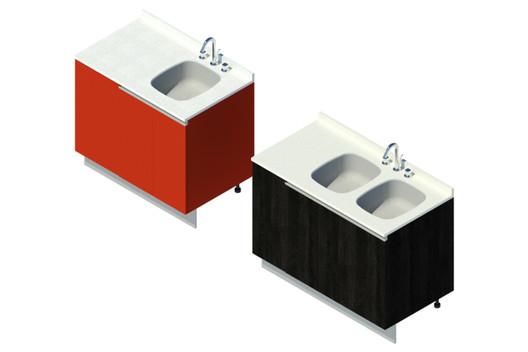 Base - Lavaplatos, ajuste lateral (variaciones). Image Cortesía de Arauco