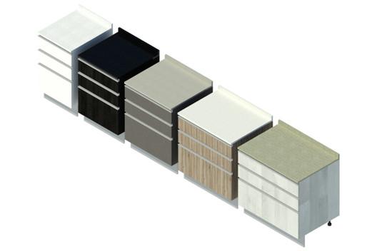 Base - Cajonera triple (variaciones). Image Cortesía de Arauco