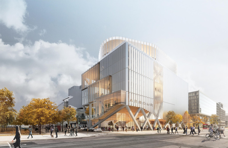 Provencher_Roy Envisions Futureproof Timber Vertical Campus Building For Toronto, Courtesy of Luxigon