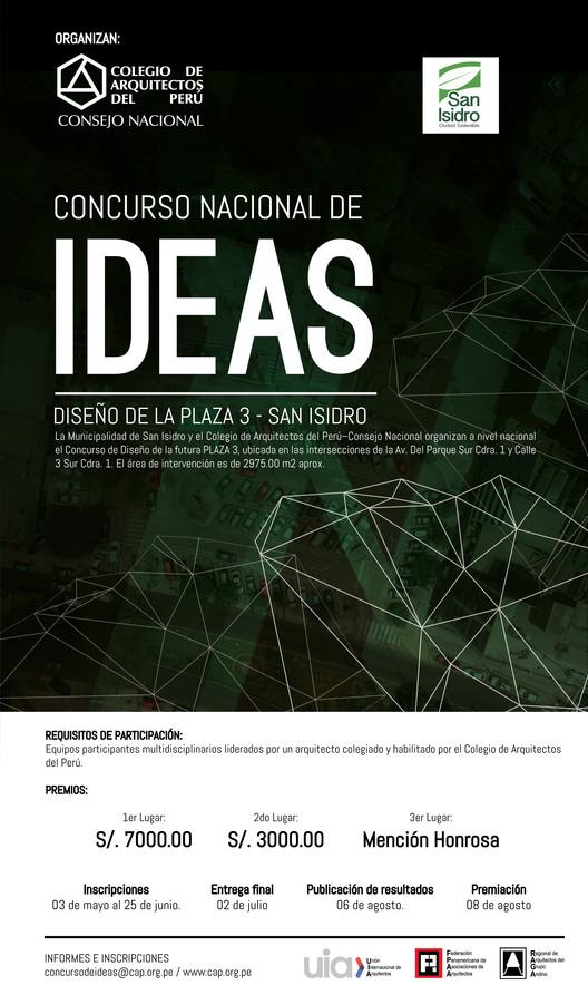 Concurso Nacional de Ideas: Diseño de la Plaza 3 en San Isidro, Lima, Colegio de Arquitectos del Perú - Ze Carlos Cornejo