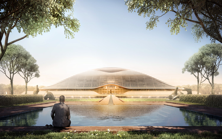 First Images Released of Foster + Partners Designs for Amaravati, the New Capital of Andhra Pradesh , Amaravati Government Complex. Image Courtesy of Foster + Partners