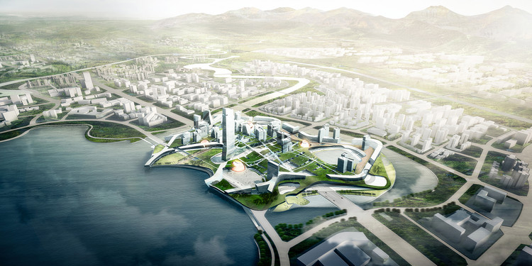Morphosis Releases Details of Competition-Winning Scheme for Unicorn Island Masterplan in China, via Morphosis