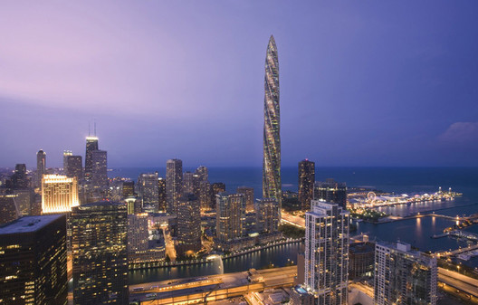 The original design for the Chicago Spire, which was scrapped in 2014. Image © Santiago Calatrava
