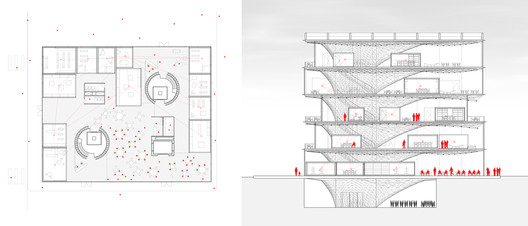 Synaptic Building at 7 PM. Image Courtesy of Stanislas Chaillou