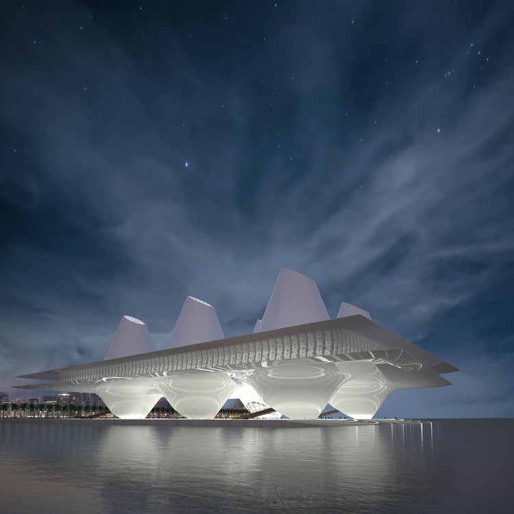 Water Mosque Prayer Hall by Nikolaos Karintzaidis - Silver A' Design Award Winner for Architecture, Building and Structure Design Category in 2018. Image Courtesy of A' Design Award & Competition