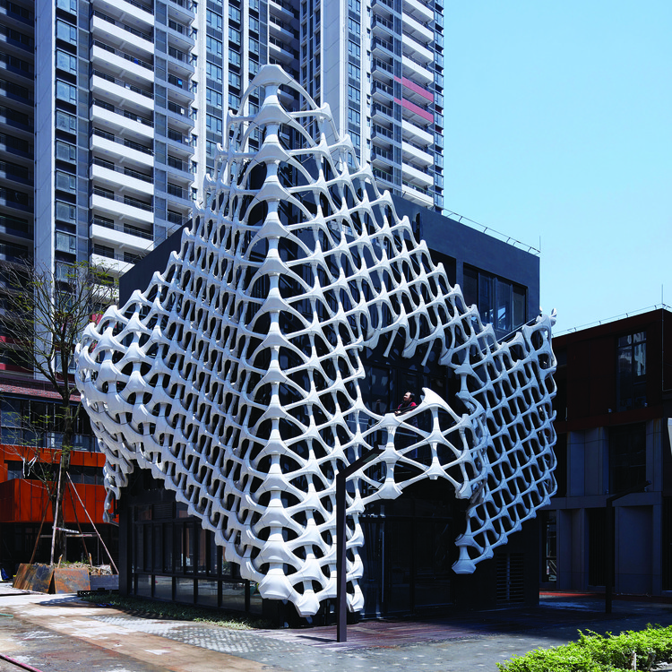 Arachne - A 3D Printed Building Facade by Lei Yu - Golden A' Design Award Winner for Architecture, Building and Structure Design Category in 2018. Image Courtesy of A' Design Award & Competition