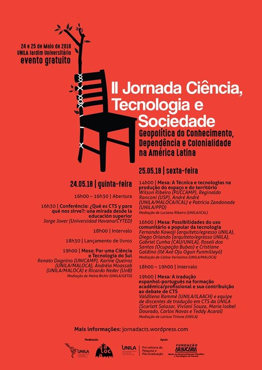 II Jornada Ciência, Tecnologia e Sociedade: geopolítica do conhecimento, dependência e colonialidade na América Latina, cartaz do evento
