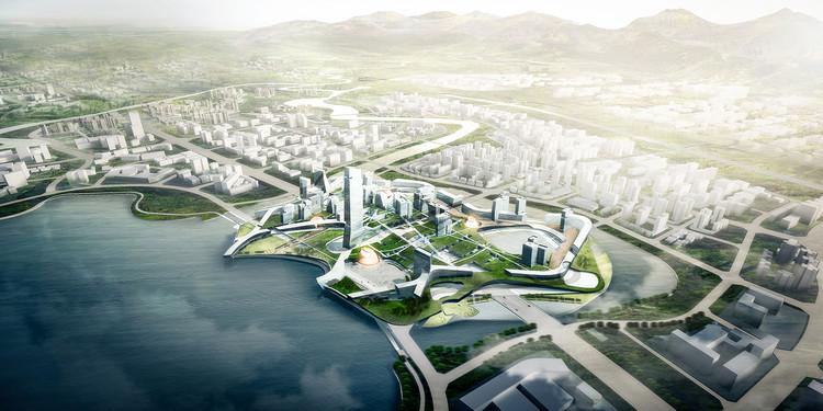 Morphosis divulga masterplan para novo hub tecnológico em Unicorn Island, na China, via Morphosis