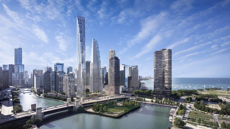 First Images Released of SOM's Proposed Skyscrapers on Former Chicago Spire Site, © Noe & Associates/Boundary courtesy of Related Midwest