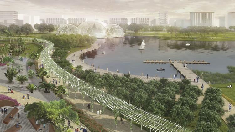 Perkins Eastman revela plan maestro de 240 hectáreas en terrenos del aeropuerto de Guayaquil, Jardín botánico en distrito central. Image Cortesía de Perkins Eastman