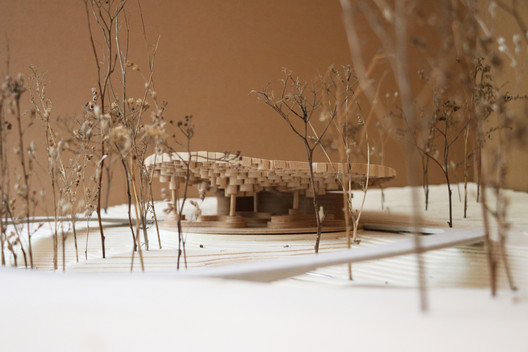 Model of the Pavilion designed by Francis Kéré at Tippet Rise Art Center in Montana. Image Courtesy of Kéré Architecture
