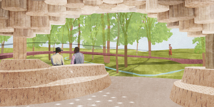 Francis Kéré to Design New Pine Log Pavilion for Tippet Rise Art Center, Interior view of Pavilion designed by Francis Kéré at Tippet Rise Art Center in Montana. Image Courtesy of Kéré Architecture