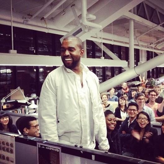 Kanye West at the Harvard Graduate School of Design in 2013. Image via Instagram User dvirnm