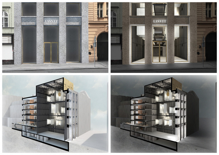 Lasvit flagship store / Filip Galko from Czech Technical University. Image via YTAA - Young Talent Architecture Award