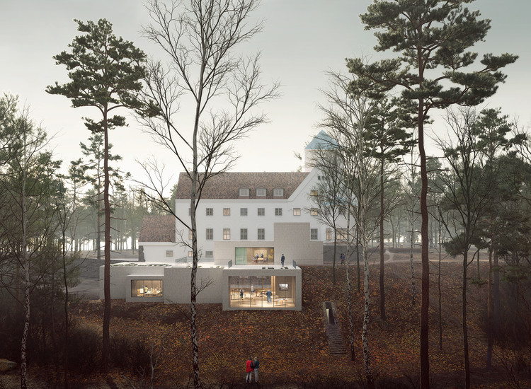 Oslo's Holocaust Center Reappropriates Former Norwegian Nazi Building, Exterior Visualization. Image Courtesy of Transborder Studio