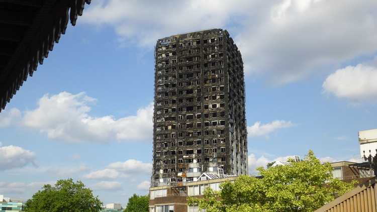 "BBC Investigation Finds Grenfell Tower Insulation ""Never Passed Fire Safety Test"", Grenfell Tower. Image © Flickr user paulhird. Licensed under CC BY-SA 2.0"