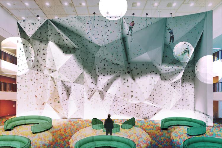 ¿Cómo debes comunicar tu proyecto en un concurso de arquitectura?, The Climbing Library, propuesta ganadora del SkyCity Challenge. Image Cortesía de Dan Gamboa