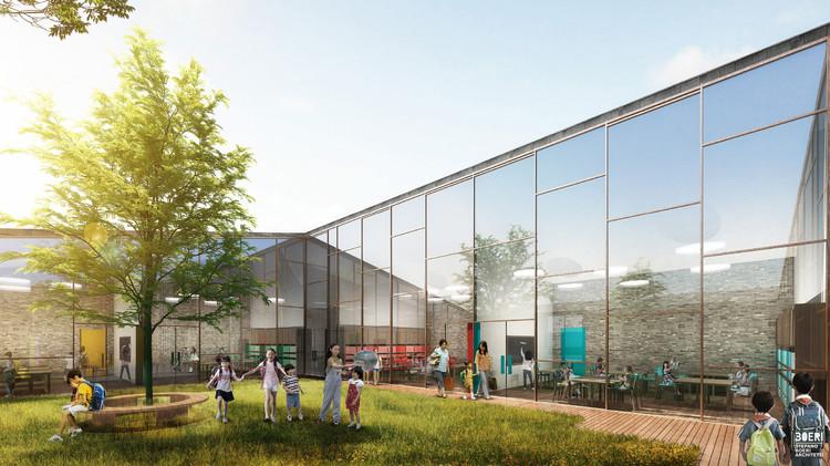 Stefano Boeri Combats Rural Decline With Free Initiative, School Exterior Visualization. Image Courtesy of Stefano Boeri Architetti