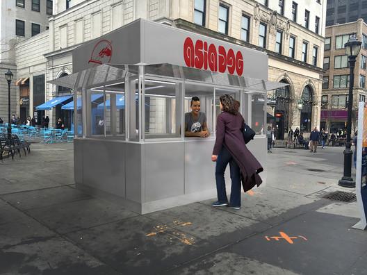 Prototypical Kiosks for Citywide Plazas / Billings Jackson Design. Image via New York City Public Design Commission