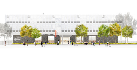Hamilton Fish Park Branch Library / Rice+Lipka Architects and Starr Whitehouse Landscape Architects & Planners. Image via New York City Public Design Commission