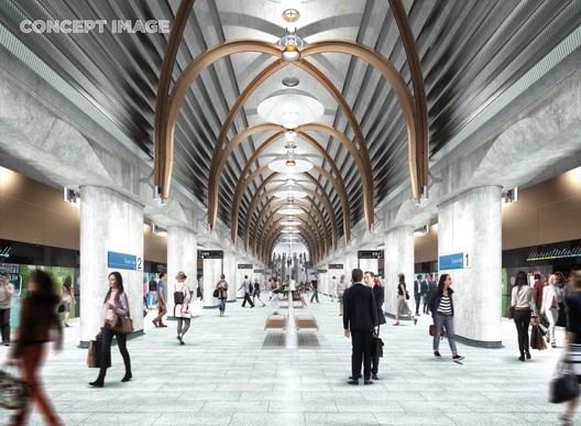 Town Hall Station. Image Courtesy of Metro Tunnel, via HASSELL, RSHP, Weston Williamson