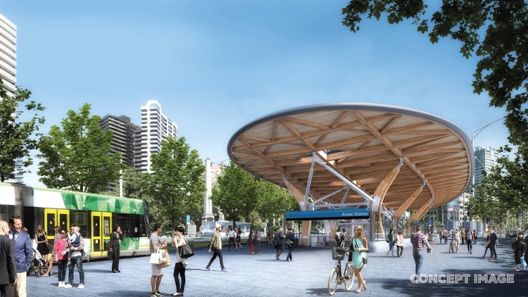 Rogers Stirk Harbour, HASSELL, and Weston Williamson Design Five Metro Stations for Melbourne, Anzac Station. Image Courtesy of Metro Tunnel, via HASSELL, RSHP, Weston Williamson