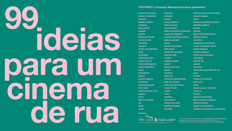 Lançamento do livro 99 ideias para um cinema de rua, O lançamento será no Cine Brasil, no Centro de BH. Crédito Micrópolis