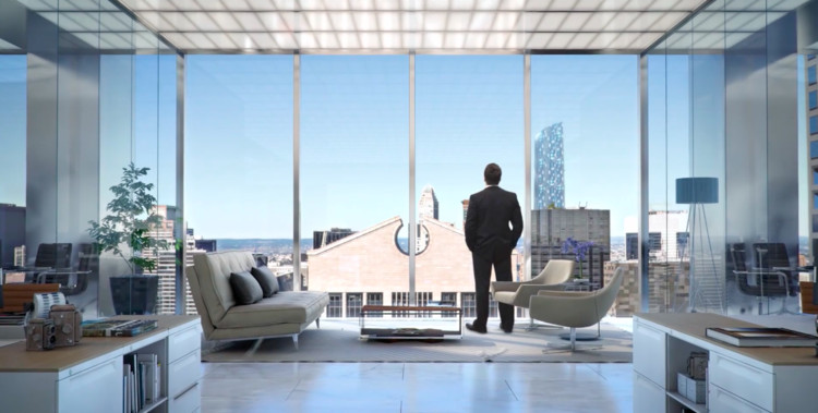 A Man, a Suit, and a Window: The Strange World of the Luxury Skyscraper Promotional Video , Image via screenshot from video