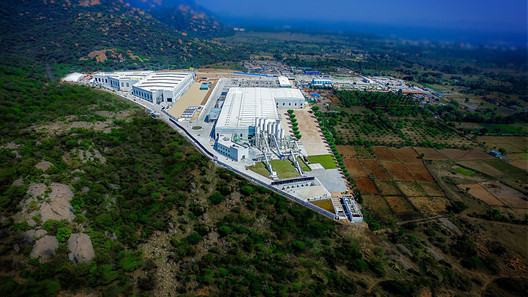 At KEF Infra's prefabrication plant in Krishnagiri, India, buildings and building parts are produced on assembly lines. Image Courtesy of KEF Infra
