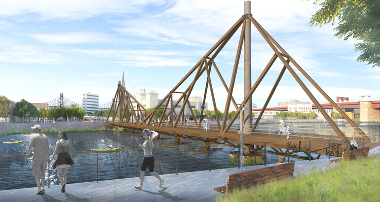A Floating Timber Bridge Could Connect Greenpoint, Brooklyn and Long Island City , Courtesy of CRÈME Architecture and Design