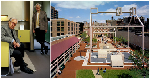 Left: Robert Venturi and Denise Scott Brown, © Frank Hanswijk; Right, Franklin Court in Philadelphia, designed by Venturi Scott Brown and Associates, © Mark Cohn