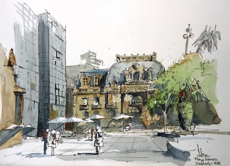 Croquiseros Urbanos en Santiago de Chile: una invitación para dibujar la ciudad a mano alzada, Alex Sahores. Image vía Croquiseros Urbanos - Bs.AS