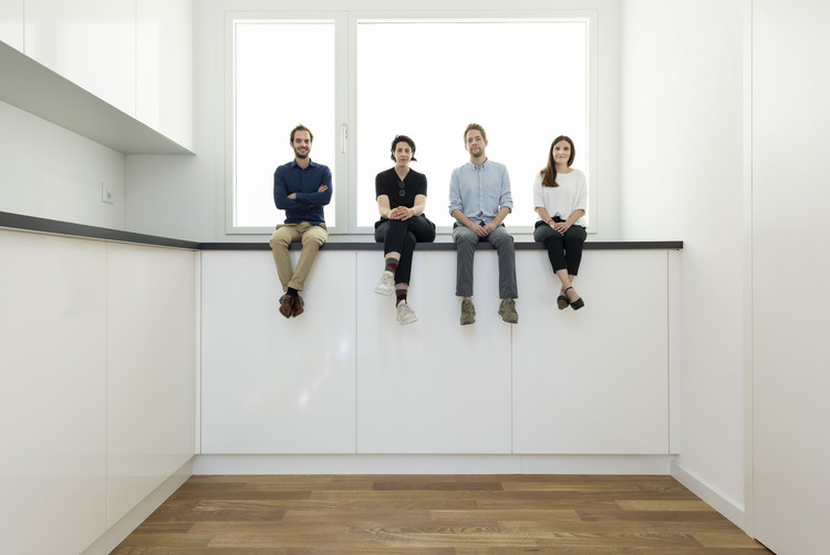 """Svizzera 240: House Tour"": The Swiss Pavilion, Winner of the Golden Lion at the Venice Biennale 2018, Project team for the Swiss Pavilion at the 16th International Architecture Exhibition - La Biennale di Venezia, May 2018. Left to right, Alessandro Bosshard, Li Tavor, Matthew van der Ploeg and Ani Vihervaara. Image © Christian Beutler / KEYSTONE"