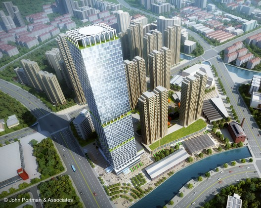 """John Portman & Associates Wins Design Competition for """"Super Tall"""" Tower in Wuxi, China"""